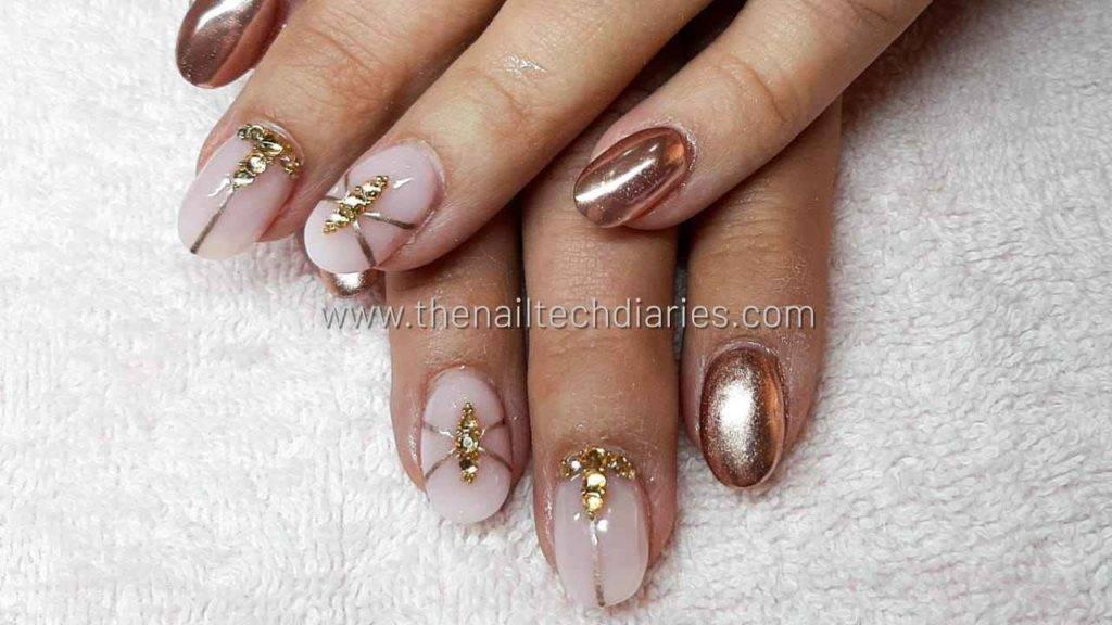 11. Rose gold nail art