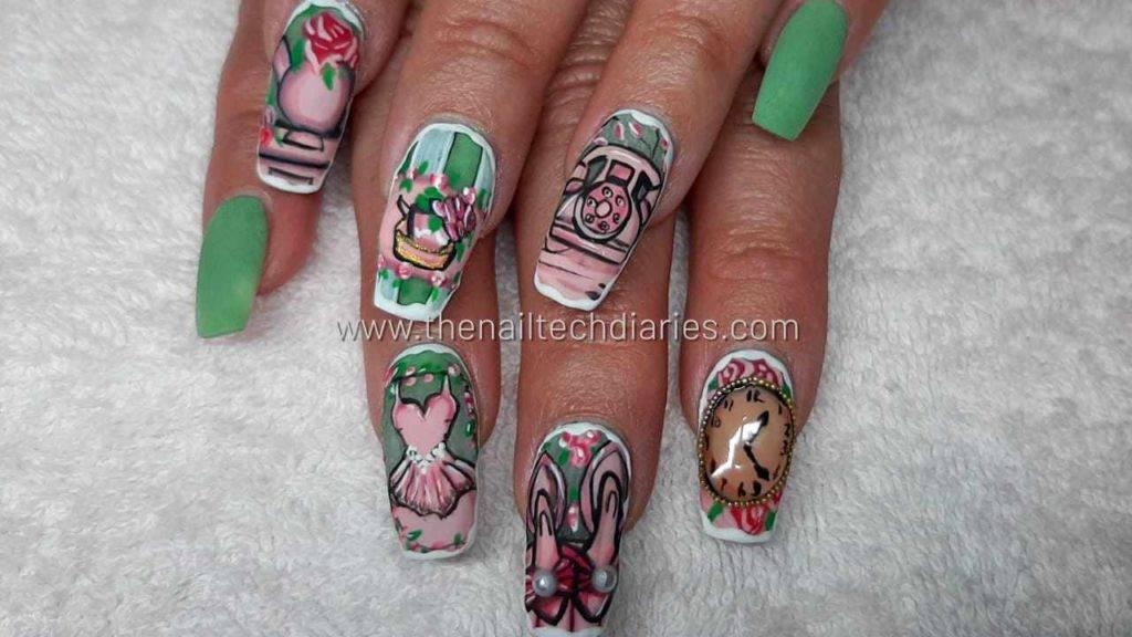 2. Vintage hand painted nail art