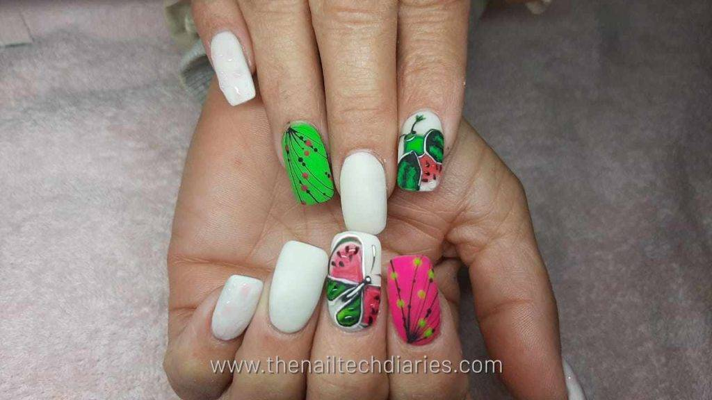 3. Fruity insects nail art