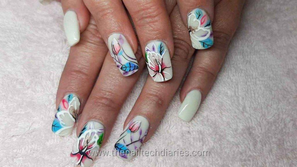4. Floral nail art