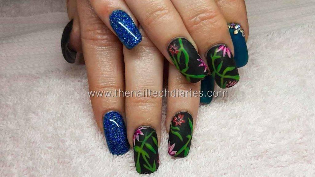 7. Dark forest nail art