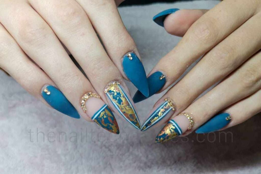 Blue and gold flake nails